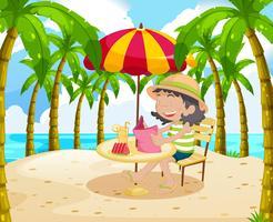 Kvinna läser bok på stranden vektor