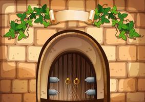 Castel dörr med vinstockar över den vektor