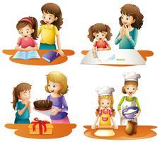 Fyra aktiviteter av mor och dotter vektor