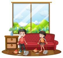 Två barn sopar golvet