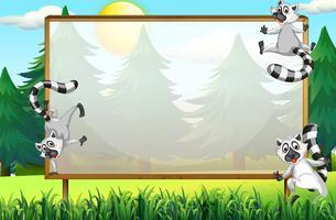 Ramdesign med lemurer i parken vektor