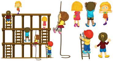 Barn klättrar upp stege och rep