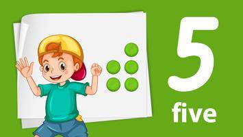 Pojke med nummer fem banner vektor