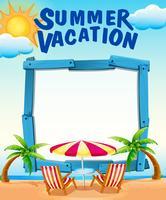 Rahmenschablone mit Sommerferien am Strand