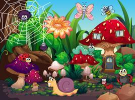 Insekter som bor tillsammans i trädgården vektor