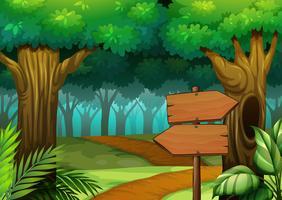 Skogsplats med träskyltar
