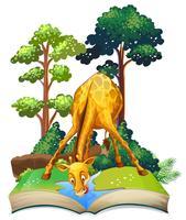 Giraff dricksvatten i boken vektor