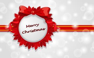 Eine Weihnachtskartenschablone mit roten Bändern vektor
