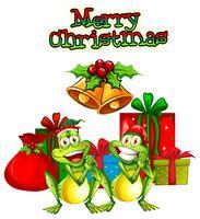 Julkortsmall med grodor och presenter vektor
