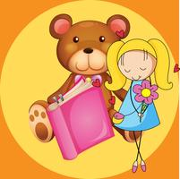 Nettes Mädchen und Teddybär