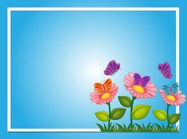 Gränsmall med blommor och fjärilar vektor