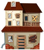 Gamla hus med rött tak