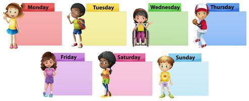 Notizschablone mit sieben Tagen der Woche mit Kindern vektor