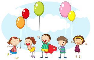 Barn och många färgglada ballonger