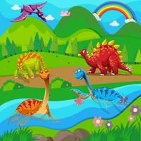 Bakgrundsscen med dinosaurier vid floden