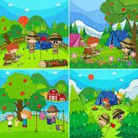 Kinder in vier verschiedenen Szenen mit Regenzeit vektor