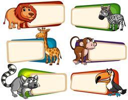 Fahnendesign mit wilden Tieren vektor