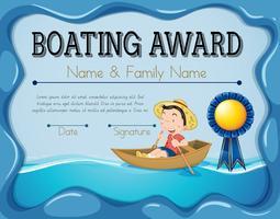 Bootfahrtpreisschablone mit Jungenruderbootshintergrund vektor