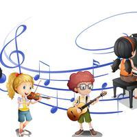 Viele Kinder spielen zusammen Musik vektor