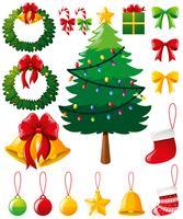 Julgran och andra prydnadsföremål vektor