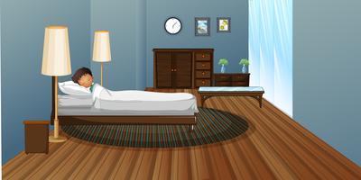 Kleiner Junge, der im Schlafzimmer schläft vektor