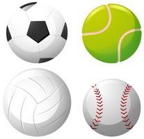 Fyra typer av bollar på vit bakgrund