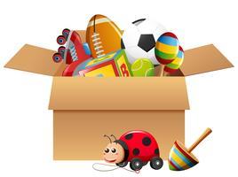 Verschiedene Arten von Spielzeugen im Karton