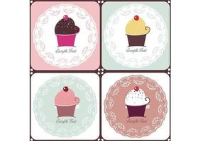 Doilies och Cupcakes Vector Pack