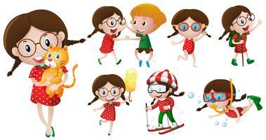 Flicka med glasögon som gör olika aktiviteter