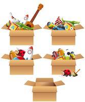 Lådor fulla av leksaker vektor
