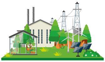 Elektronisches Kraftwerk und Stromleitungen