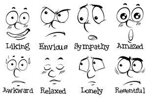 Olika uttryck på mänskligt ansikte med ord