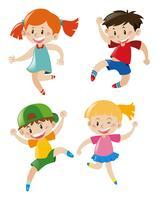 Vier Charaktere von Kindern vektor