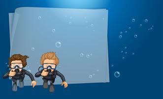 Papper mall med dykare i havet vektor