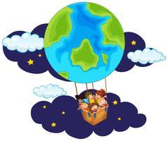 Barn som kör ballong på natten vektor