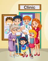 Läkare och patienter på kliniken
