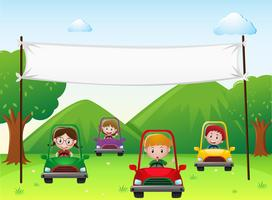 Banderollsmall med barn i bilar vektor