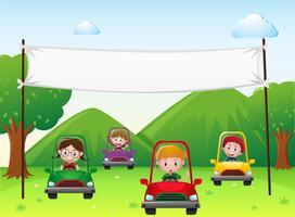 Banner-Vorlage mit Kindern in Autos vektor