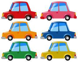 Bilar i sex olika färger