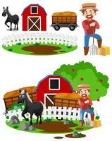 Landwirte und Pferde auf dem Hof