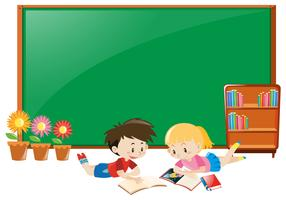 Ramdesign med pojke och flicka som läser böcker vektor
