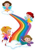 Feen fliegen über den Regenbogen