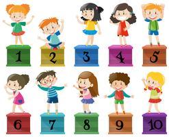 Kinder und Nummer eins bis zehn