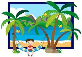 Sommarplats med pojke på hängmatta vektor