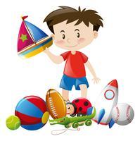 Junge, der mit vielen Spielwaren spielt vektor