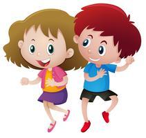Jungen und Mädchen tanzen vektor