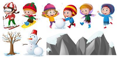 Barn leker i snön vektor