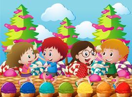 Kinder tanzen im Candyland vektor