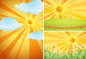 Tre bakgrundsscenarier med ljus sol