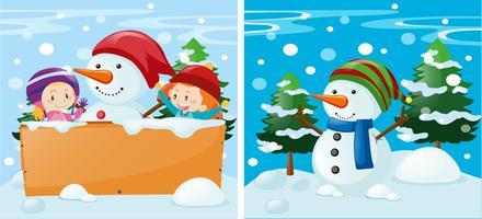 Två scener med barn och snögubbe